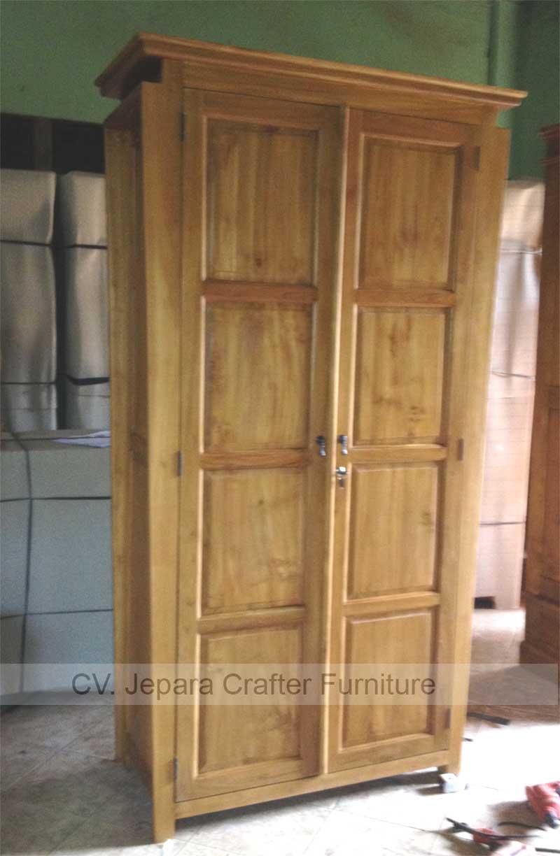 Indonesian Teak Wood Armoire Wardrobe Cabinet Bedroom