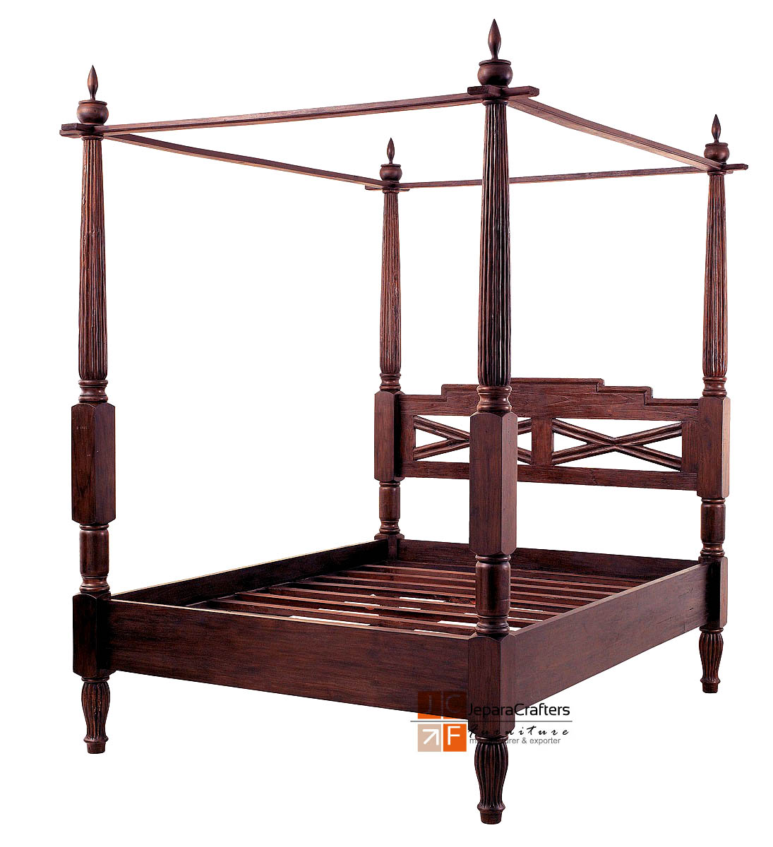- Bali Antique Canopy Beds Frame Solid Teak Wood Colonial Furniture