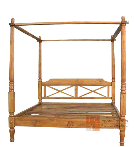 Antique Canopy Beds Frame Solid Teak Wood Furniture Indonesia Exporter