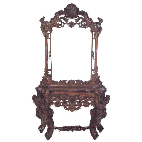 Antique furniture jepara hard carved wooden dressing table