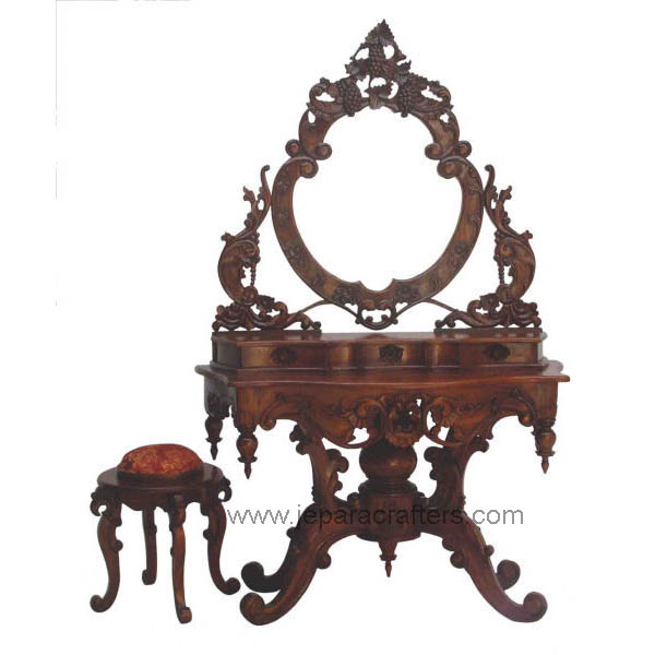 Hard Carving Rococo Dressing Table and Stool Indonesia Wholesaler