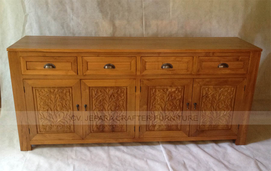 Sideboard Buffet 4 Carving Doors 4 Drawers Teak