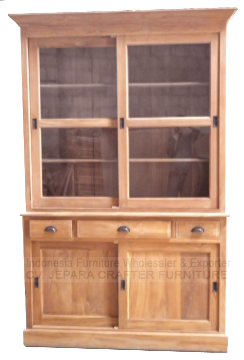 TEAK VITRINE CABINET SLIDING DOORS JFLC-010 - Indonesia Furniture Supplier Antique Wooden Cabinets With Glass Doors