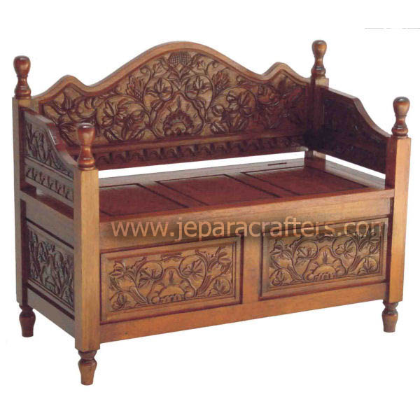Mahogany Hard Carved Bench Loveseat Sofas Colonial Antique Design