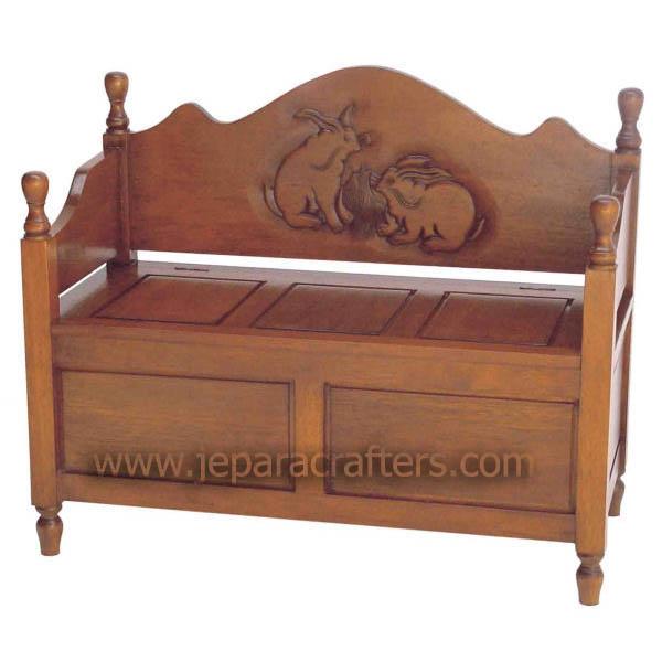 Mahogany Rabbit Carved Bench MH SF011