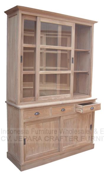 Teak wood cabinet glass doors indonesia antique furniture for Teak wood doors manufacturers