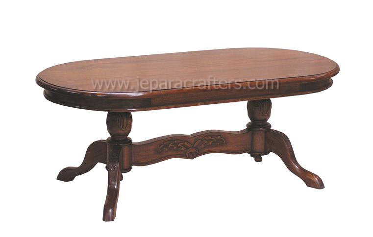 Mahogany Oval Twin Leg Carved Dining Table MH DT003