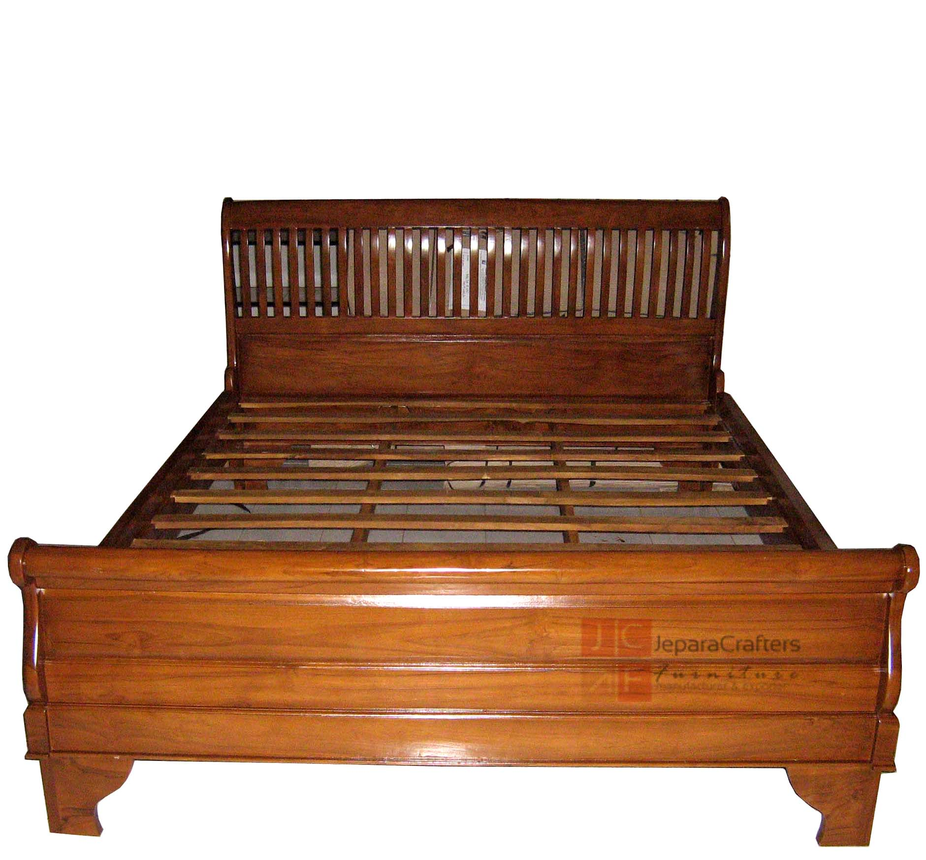 Solid teak wood sleigh bed bedroom furniture indonesia for Solid wood furniture
