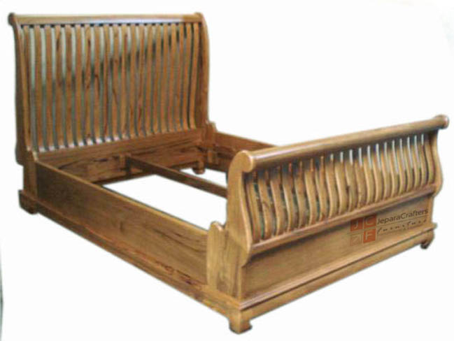 Solid Teak Wooden Sleigh Bed Queen Frames Antique Furniture Indonesia - Indonesian bedroom furniture