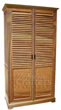 Solid Teak Wood Wardrobe Armoire Furniture Indonesian