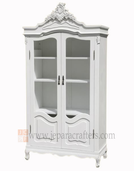 Louis Glass Doors Armoire Carved FS AW008