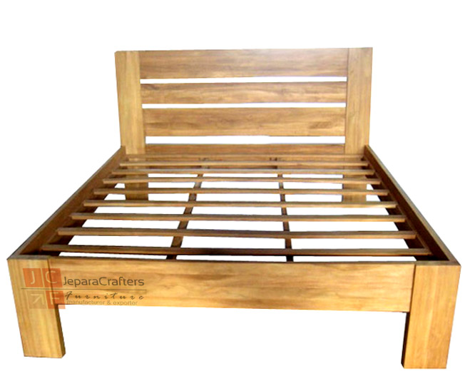 Simple bed frame minimalist teak wood indonesia wholesale Simple wood bed frame designs