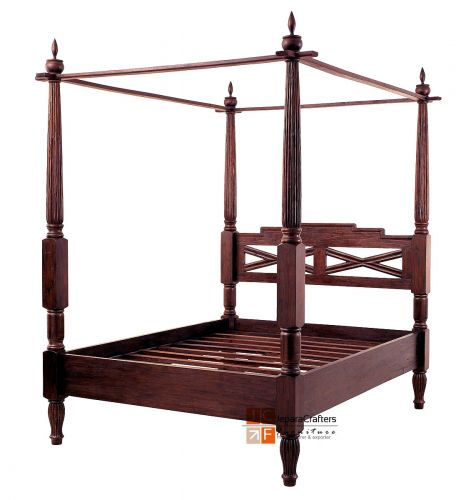 Bali antique canopy beds frame solid teak wood colonial for Canape 180x200