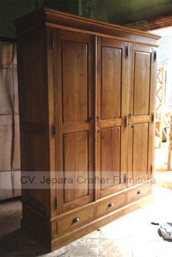 Colonial bedroom wardrobe cabinet solid teak wood - Bedroom furniture made in indonesia ...
