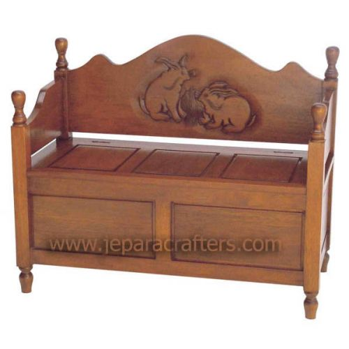 Mahogany Rabbit Carved Bench MH-SF011