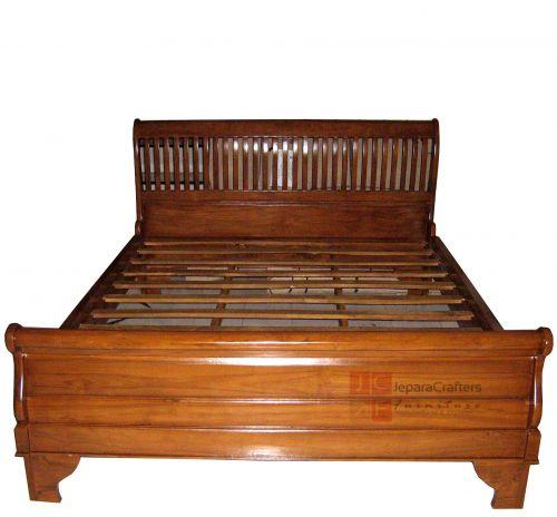 Solid Teak Wood Sleigh Bed Bedroom Furniture Indonesia Exporter