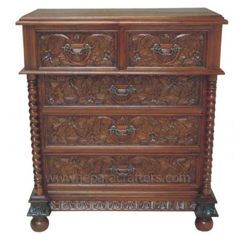 Mahogany 5 Drawer Chest w/ Carved MHBS021