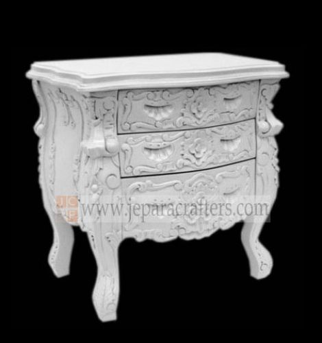 Rococo Hard Carved Bedside Table FS-NSB010