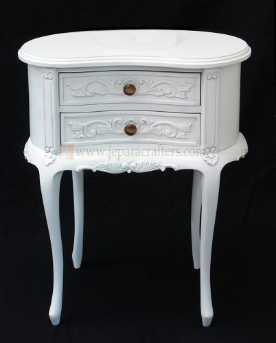 Oval Nightstand 2 Drawer Carved FS-NSB004